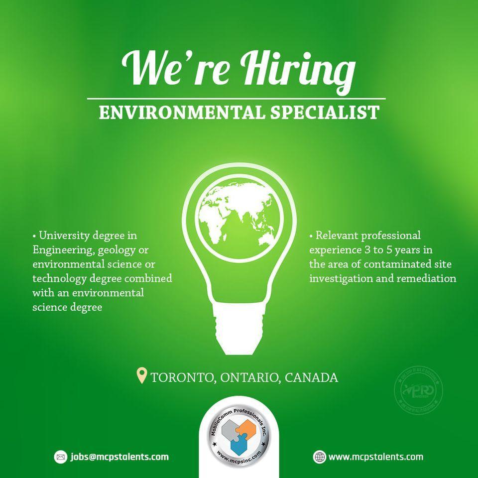 Hiring Environmental Specialist Environmental Science Science Degree Science