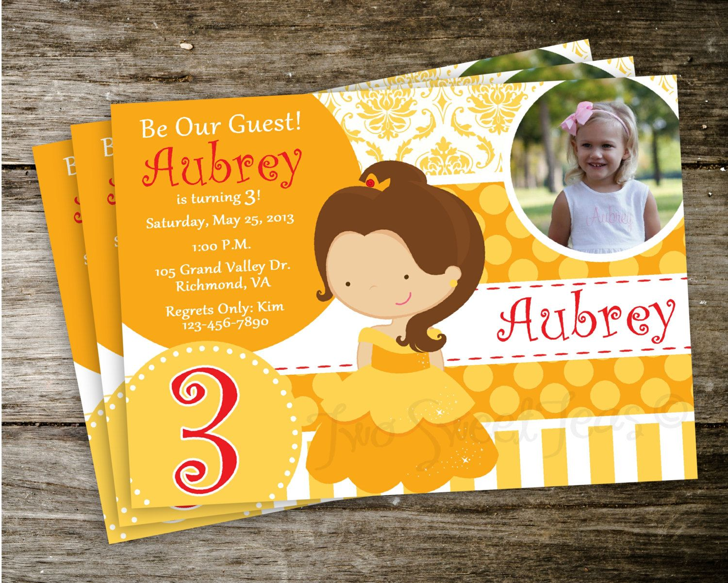 birthday party invitations printable%0A Belle Bell Beauty and the Beast Disney Princess Photo Birthday Party  Invitation Digital Printable