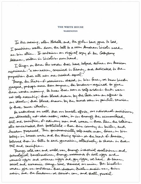 President ObamaS Letter To The Gettysburg Address  Political