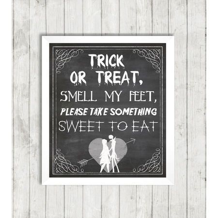 Halloween Jack  Sally Trick Or Treat Party Wedding Sign - Printable - halloween candy treat ideas