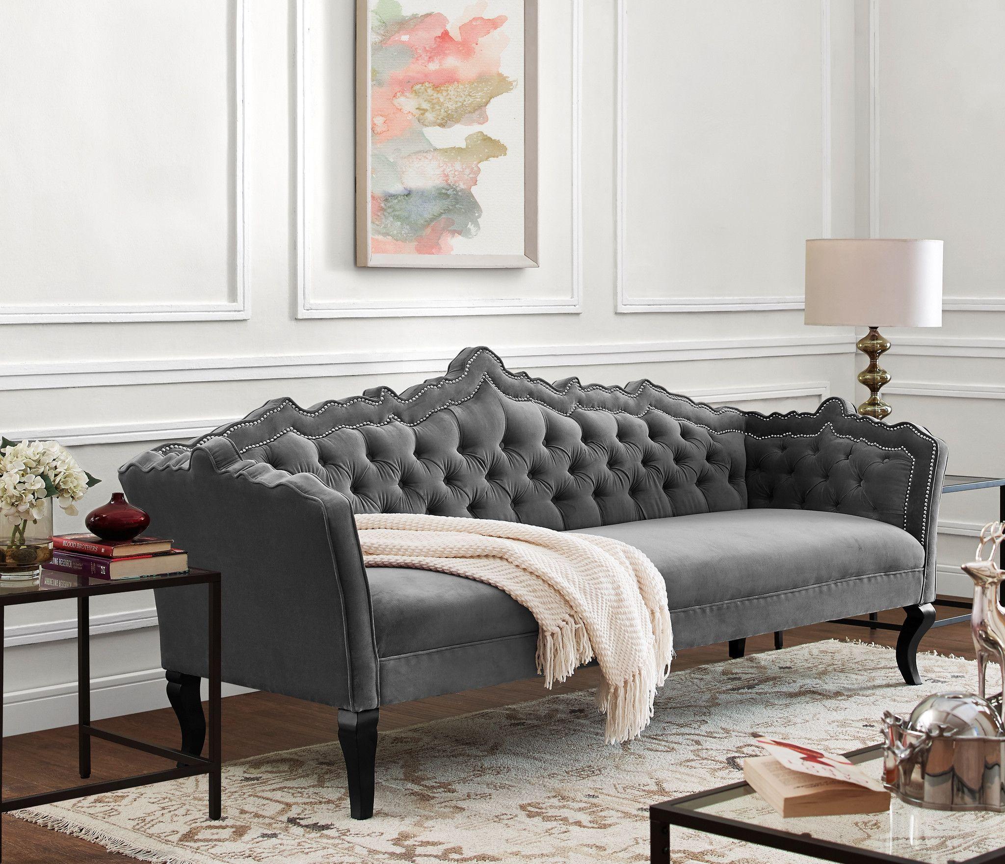 tov furniture modern brooks grey velvet sofa tov s44 rh pinterest com