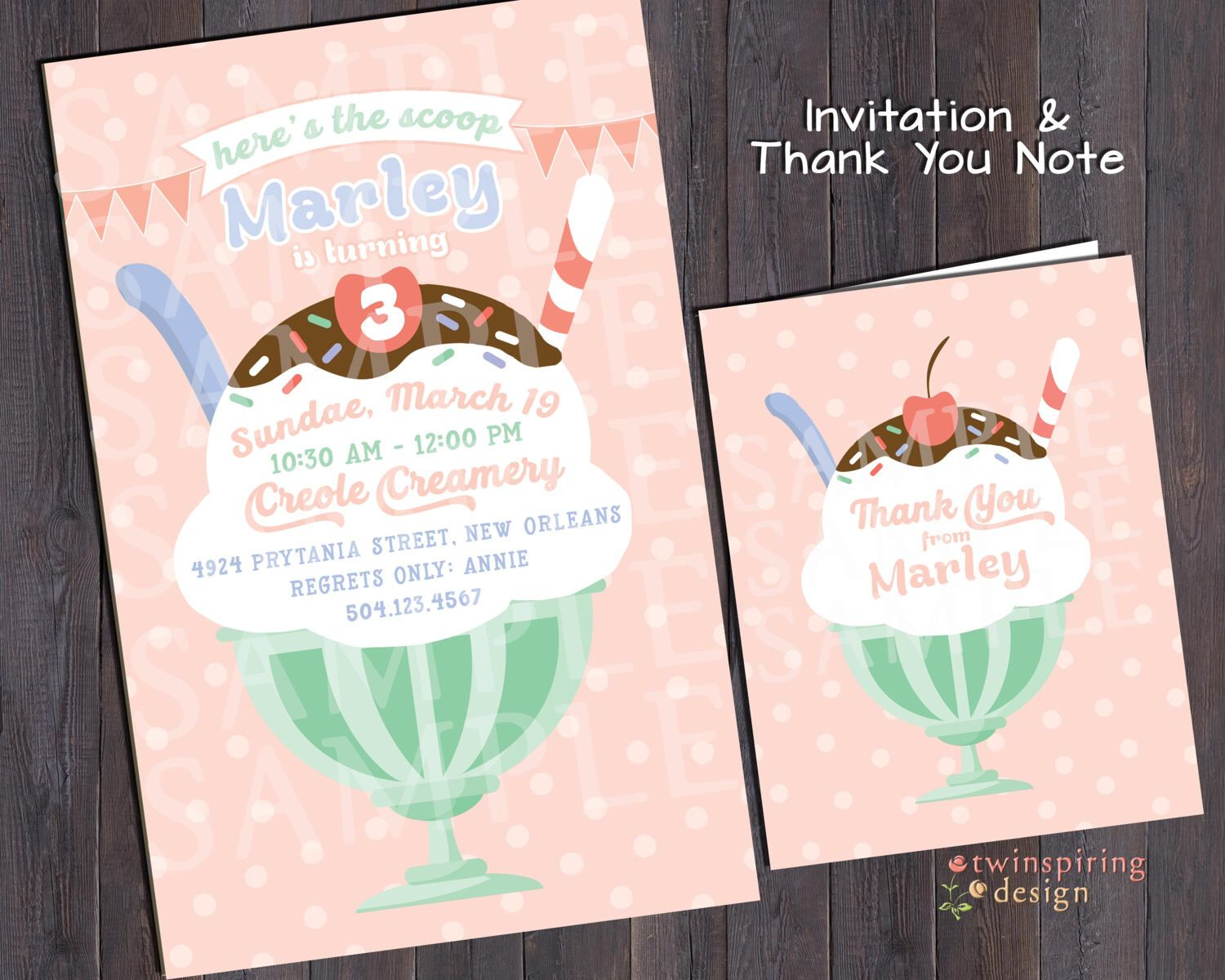 birthday party invitations printable%0A Ice Cream Sundae Birthday Party Invitation and or Thank You Notes  Boy or  Girl Color Schemes