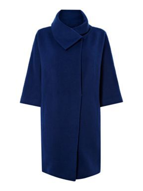Pied a Terre Funnel neck cocoon coat Navy - House of Fraser