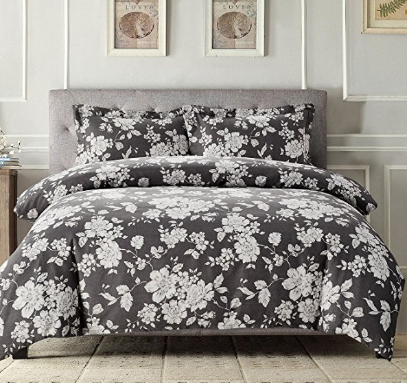 8da73db9e Wake In Cloud - Gray Floral Comforter Set Queen, 3-Piece White Vintage  Flowers Pattern Printed on Grey, Soft Microfiber Bedding