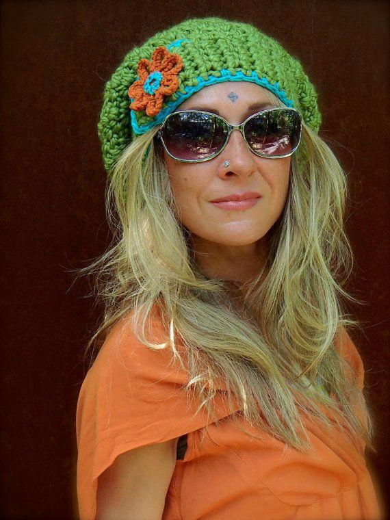 Green JUMBO SLOUCHY Beanie hat crochet slouch hat Groovy by GPyoga ...