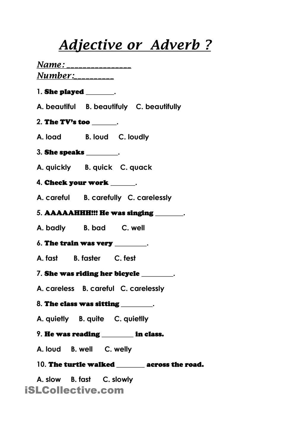hight resolution of Adjective or Adverb?   Adverbs worksheet