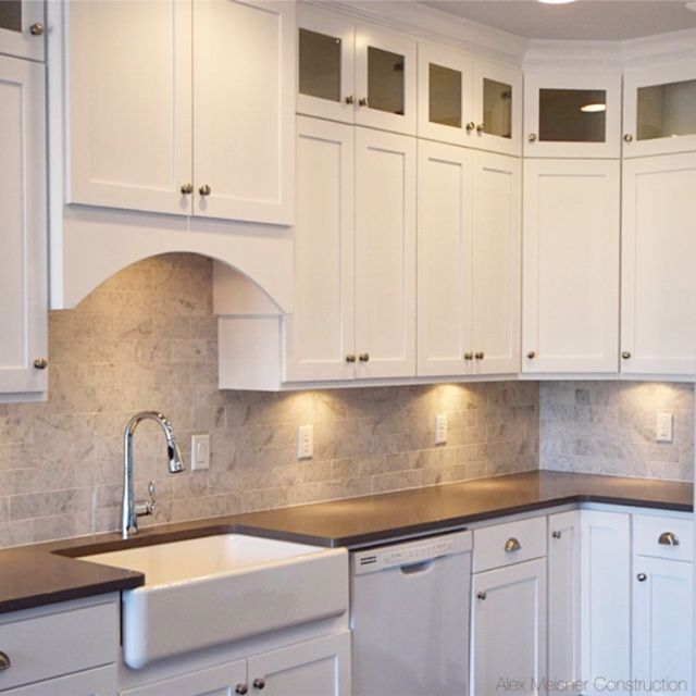 Shaker Style Countertops And Style On Pinterest: Concrete Grey Quartz Counter Tops With 4 Inch Back Splash