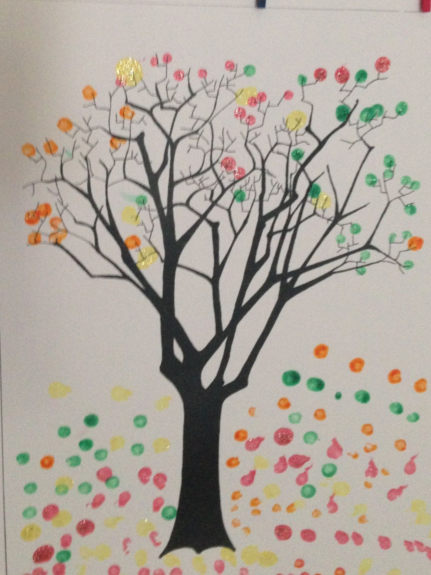 Dot Stamp Fall Tree Q Tips And Sparkle Paint October