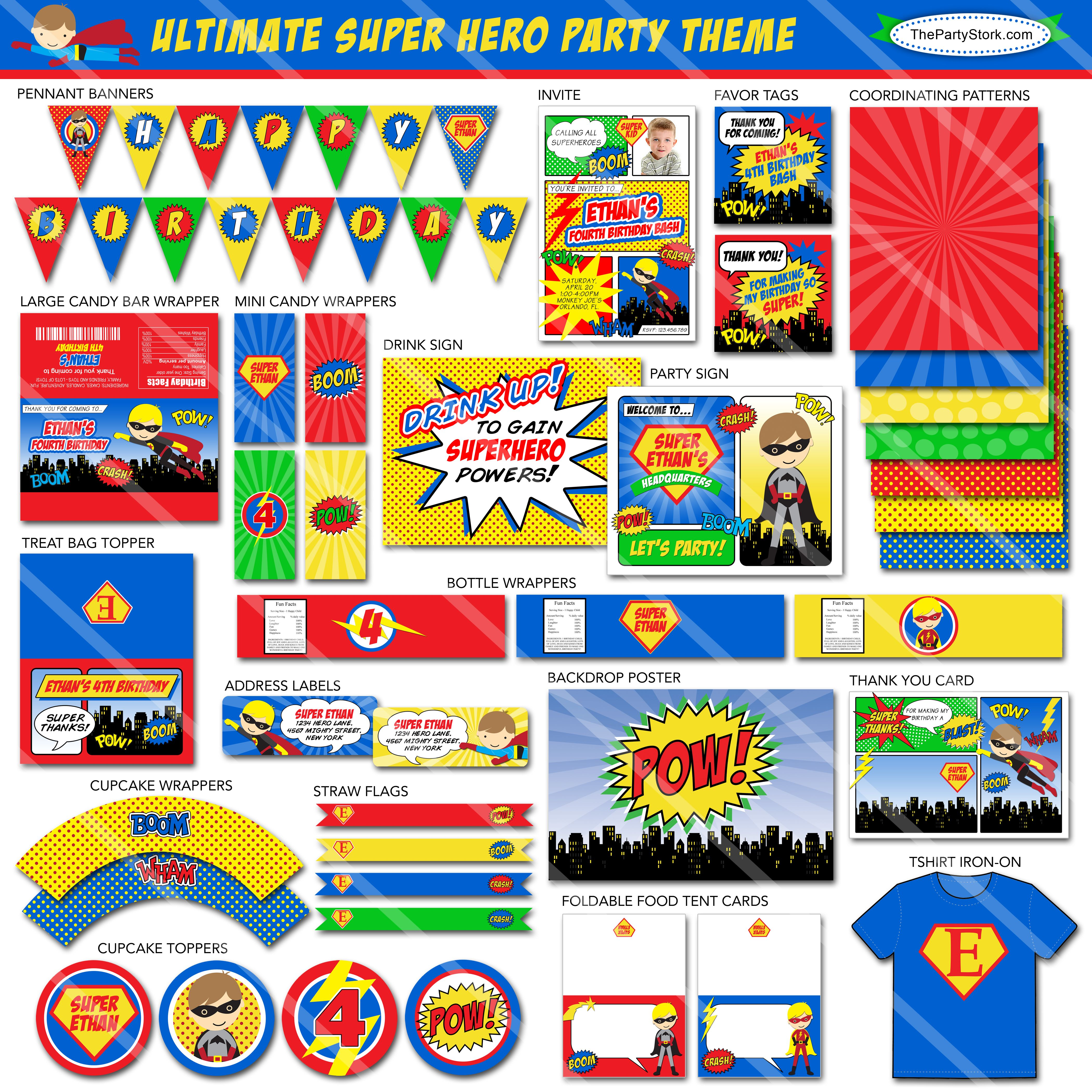 Superhero Party Printables Free   super_hero_layout.jpg   Super ...
