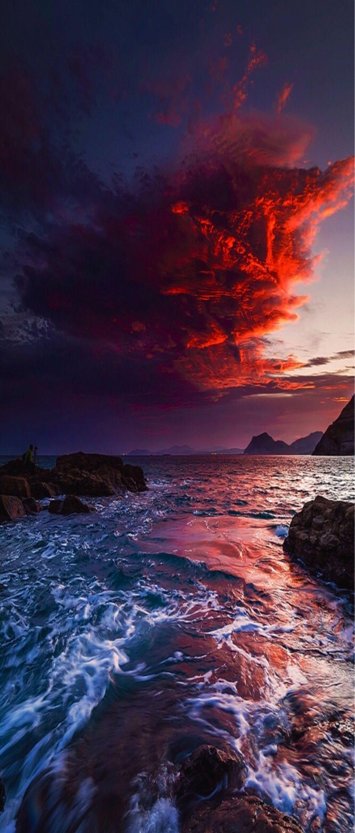 3d 4k Fbb Wallpaper S8 Wallpaper Backgrounds Nature Sunset Red Ocean