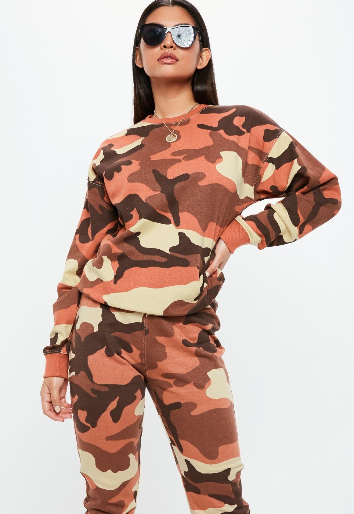 9260e15f Missguided - Orange Camo Long Sleeve Sweatshirt   West   Camo ...