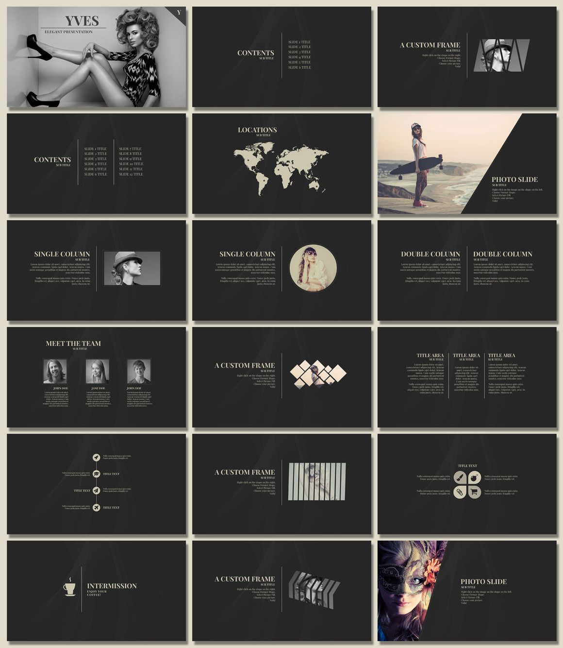 Yves Elegant Presentation Pinterest Fashion Templates - Luxury simple ppt template scheme