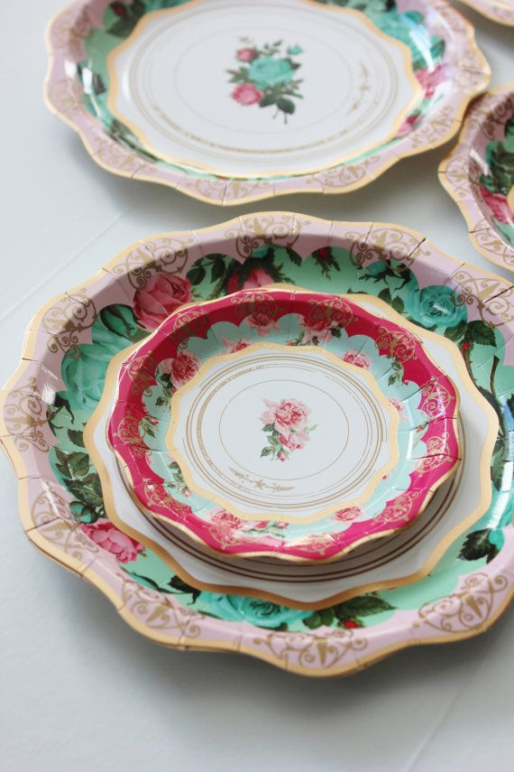 Set of 12 floral tea cup party theme paper plates 8 Gorgeous shades of mint green & 36 FLORAL TEA PARTY Paper Plates Parisian Vintage Style Shabby Chic ...