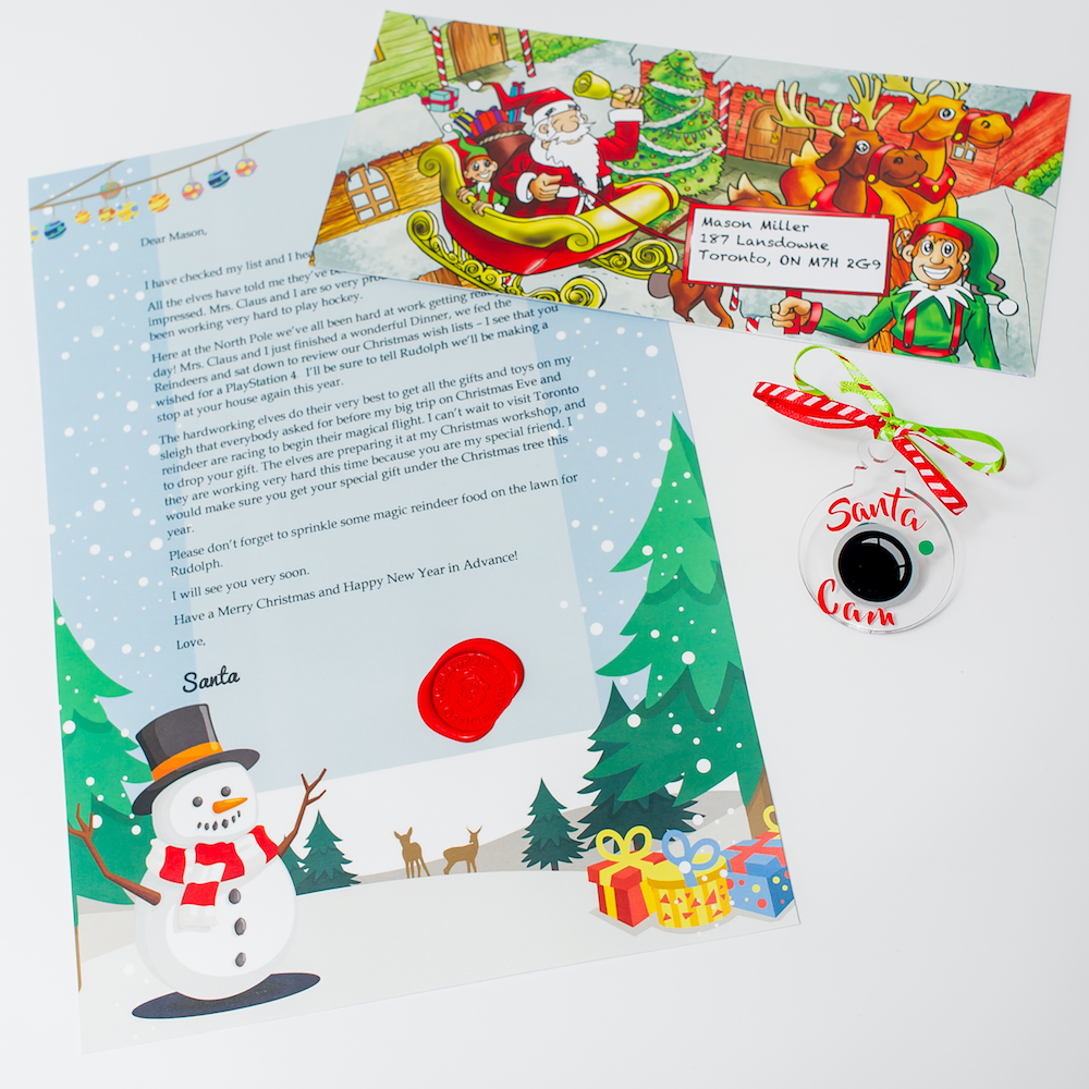 Santa Cam Ornament Package with Personalized Letter from