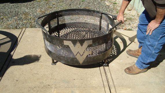 West Virginia University Rustic Fire Pits By Samijocorner On Etsy 175 00 Metal Fire Pit Fire Pit Fire Pit Decor