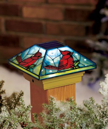 Solar Post Cap Light Christmas Cardinal Lighted Post Cap
