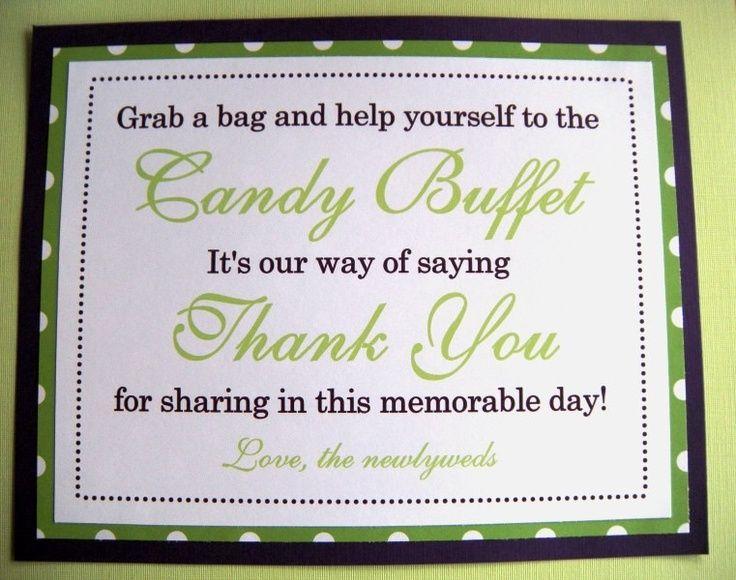 8x10 Flat Purple And Lime Green Polka Dot Candy Buffet Wedding Favor Sign