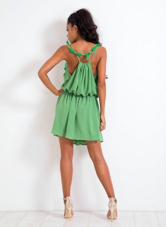 48d791611663 Party Dress  Summer Dress  Green Dress  Short Dress  Casual Dress  Loose  Dress  Off Shoulder Dress