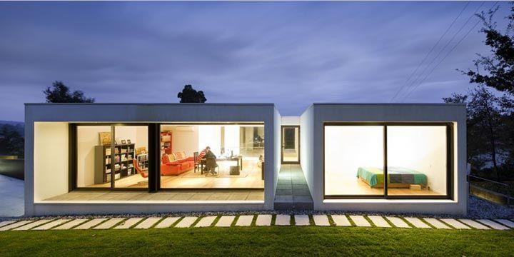 modular, meio casa de patio