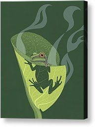 Canvas Prints - Pacific Tree Frog in Skunk Cabbage Canvas Print by Nathan Marcy