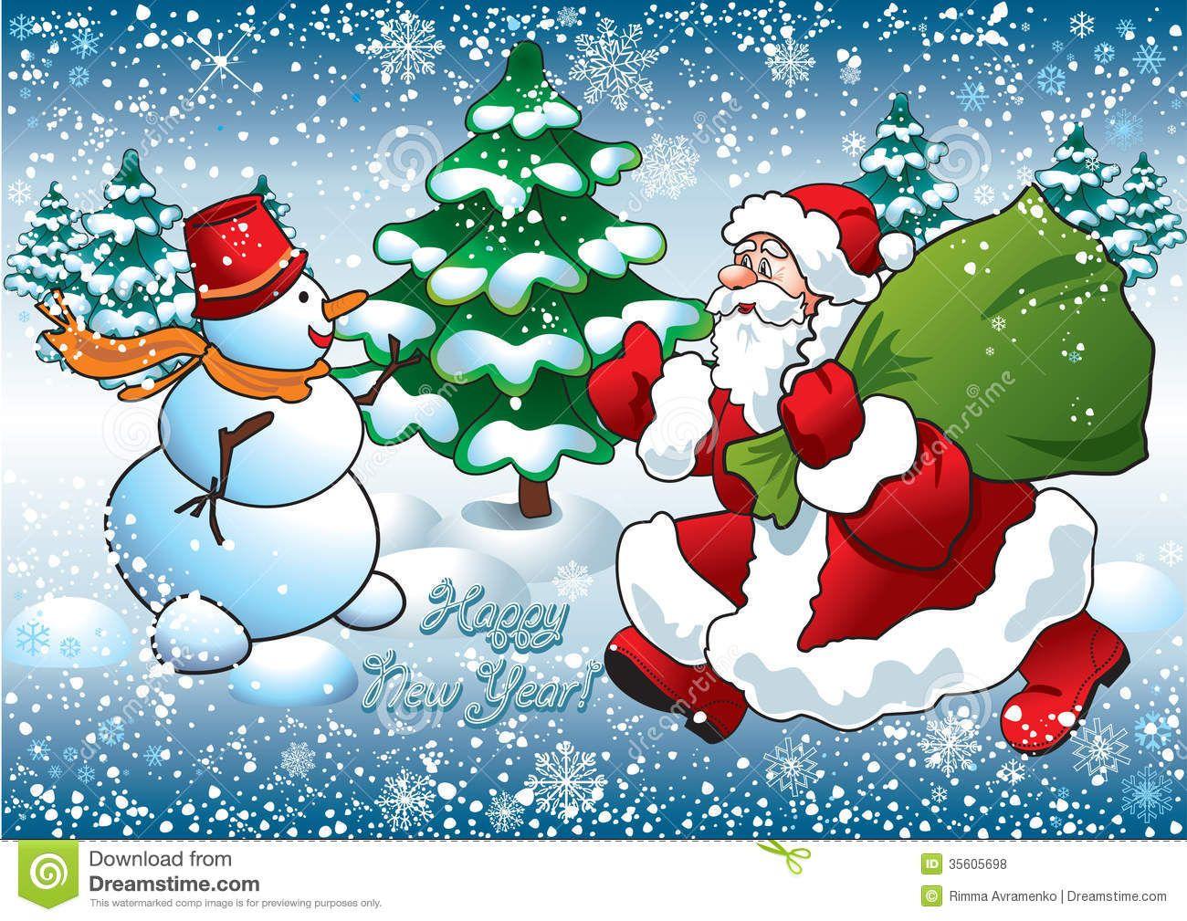 santa and snowman royalty free stock photos image 35605698 - Santa And Snowman