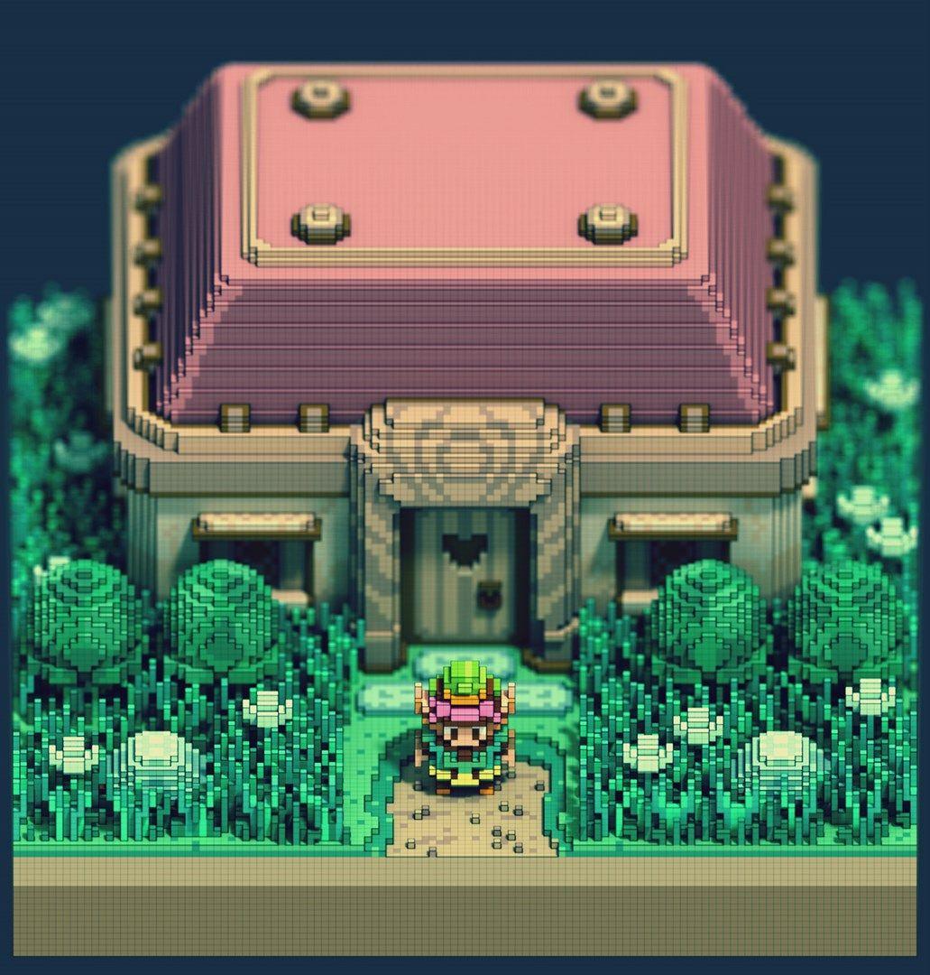 Zelda Artista Reproduz Cenario 2d De A Link To The Past Com Cubos 3d Voxel Art Legend Of Zelda Isometric 3d