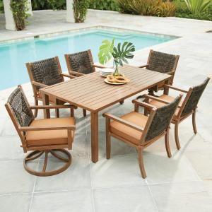 hampton bay kapolei 7 piece wicker outdoor dining set with reddish rh pinterest com