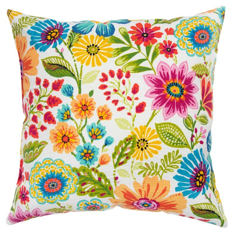 Bright Multi Color Floral Indoor Outdoor Throw Pillow Floral Throw Pillows Throw Pillows Outdoor Throw Pillows