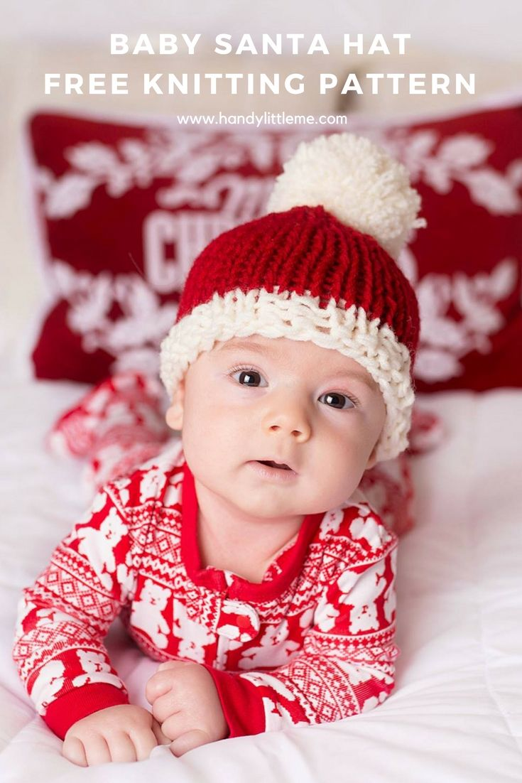 6f152b855 Baby Santa hat free knitting pattern. Make a super cute Santa hat for your  baby this Christmas with this easy knitting pattern.