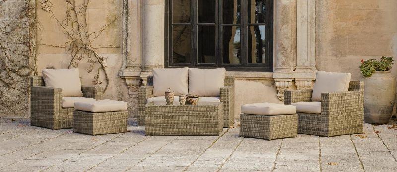 Salon de jardin résine Abasari Nautic 4 places avec coussins beige ...