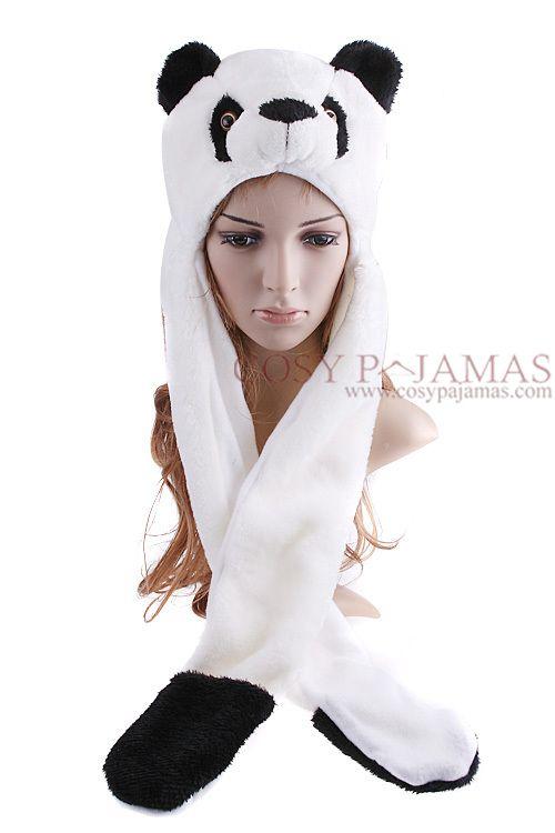38e3bf400 Cute Panda Animal Hat with Paws Mittens | Animal Onesie Kigurumi ...