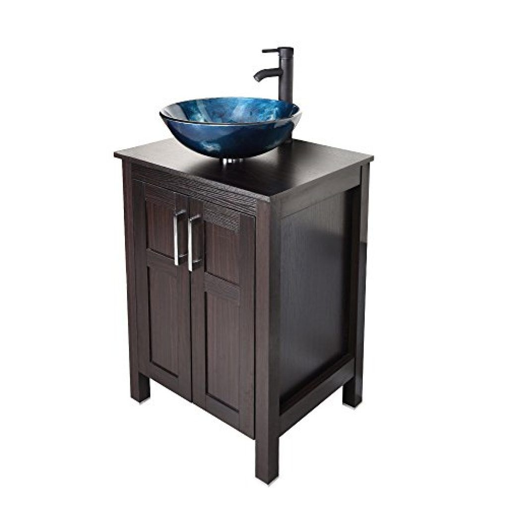 U Eway 24 Inch Black Bathroom Vanity Square Tempered Glass Vessel Sink Combo 1 5 Gpm Faucet Oil Rubbed Bronze Bathroom Vanity Top With Sink Bowl 20 Inch Deep A Traditional Bathroom Vanity Black