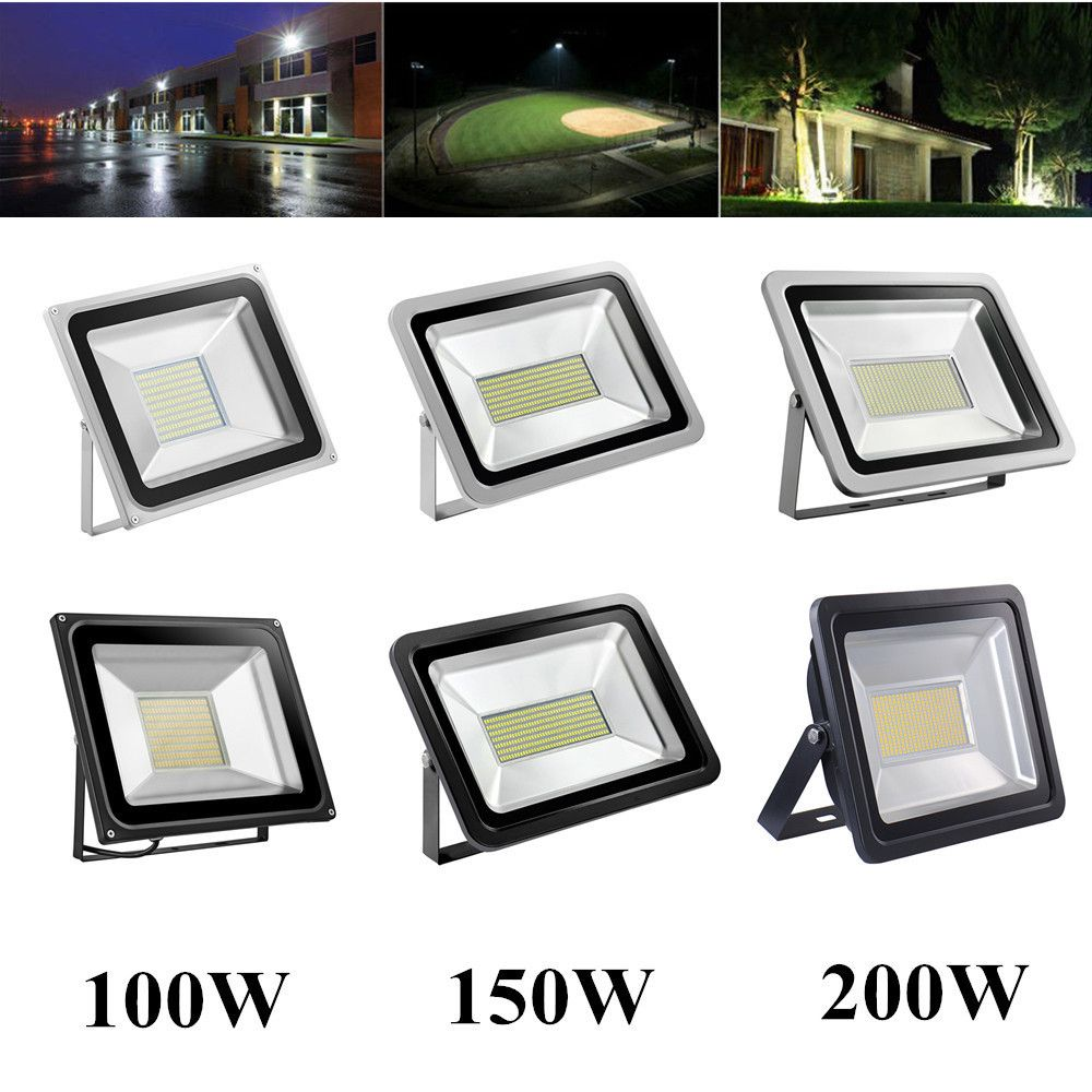 Led Projecteur 100 W 150 W 200 W Lumiere D Inondation Ip65 Etanche Refletor Led Lampe Spotlight Pour Carre Mur Exterieur Eclairage 220 V Led Flood Lights Flood Lights Led Flood