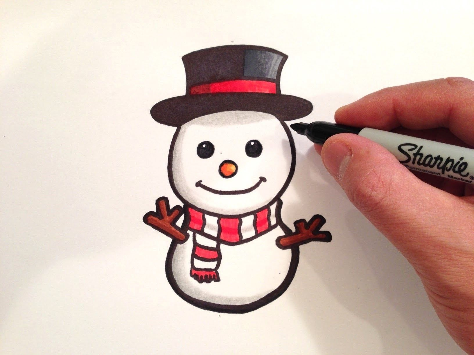 How to Draw a Cute Snowman Easy christmas drawings, Xmas