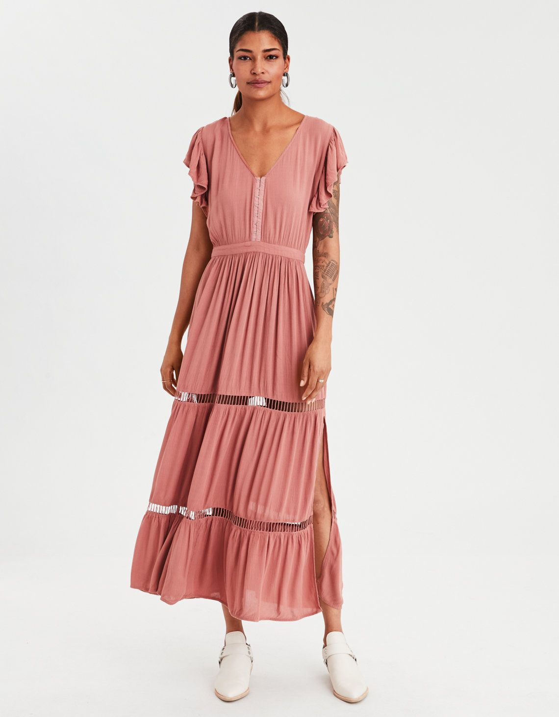 Ae flutter sleeve maxi dress what to wear uc pinterest maxi