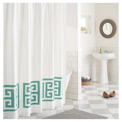 shower curtain green greek key threshold batik green products rh pinterest cl