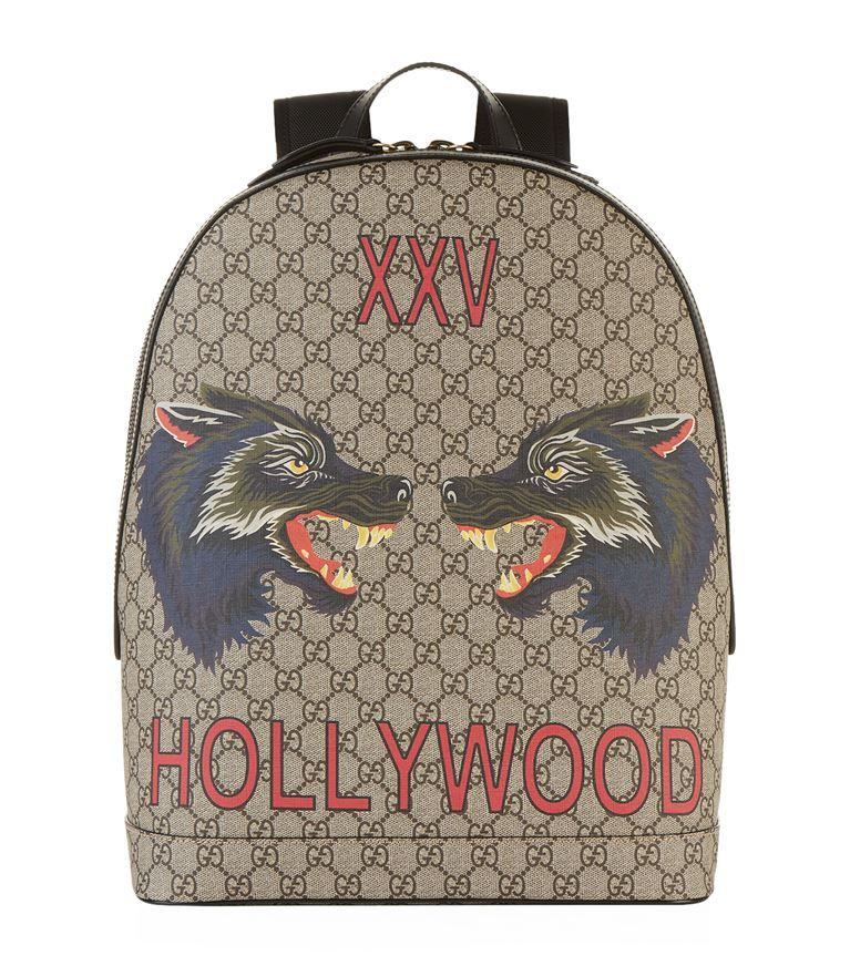 25d8e1317388 GUCCI GG Supreme Wolf Motif Backpack.  gucci  bags  canvas  leather  lining   linen  backpacks  cotton