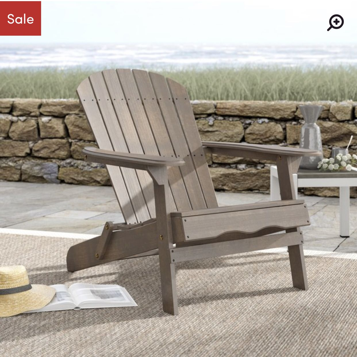 Ridgeline Solid Solid Wood Folding Adirondack Chair (With