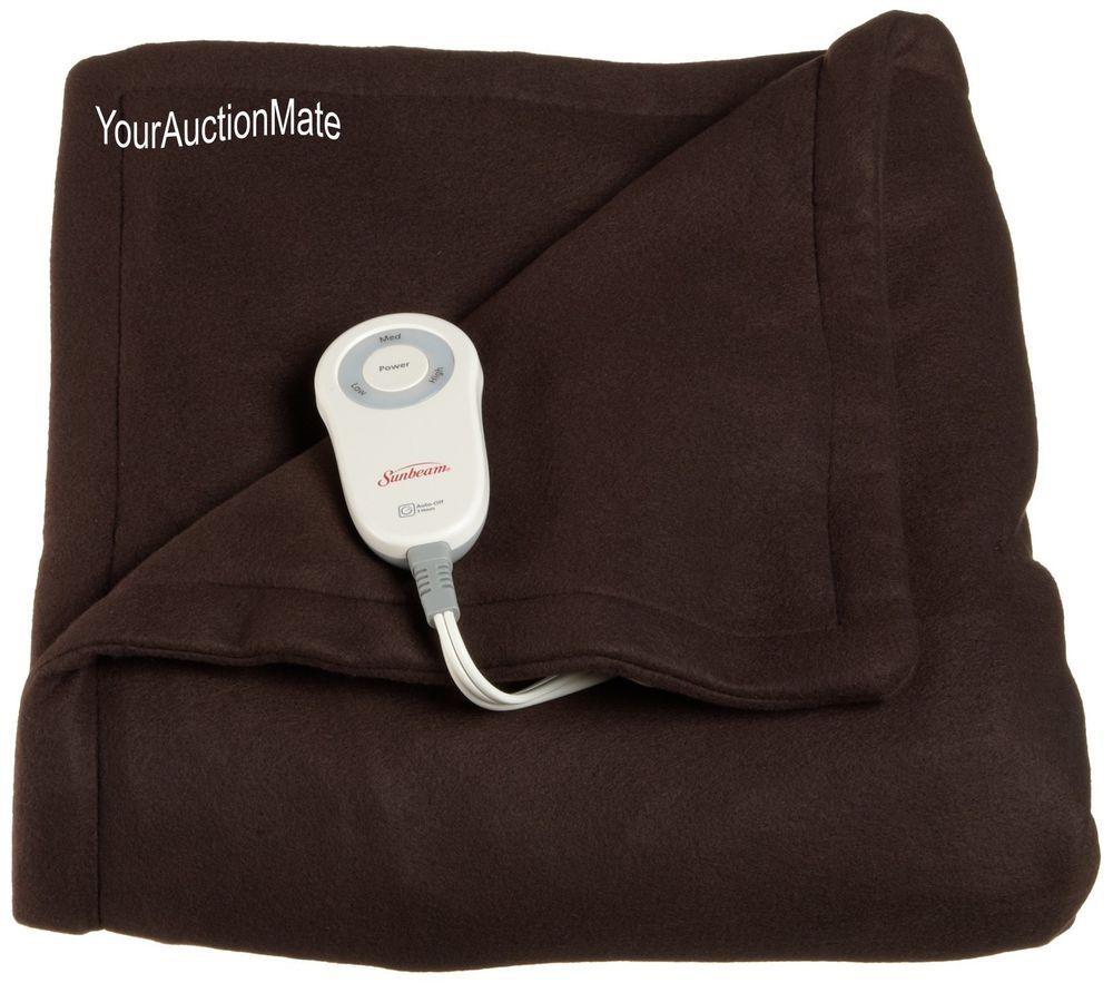 Fleece heated throw lap blanket lighted controller heat settings