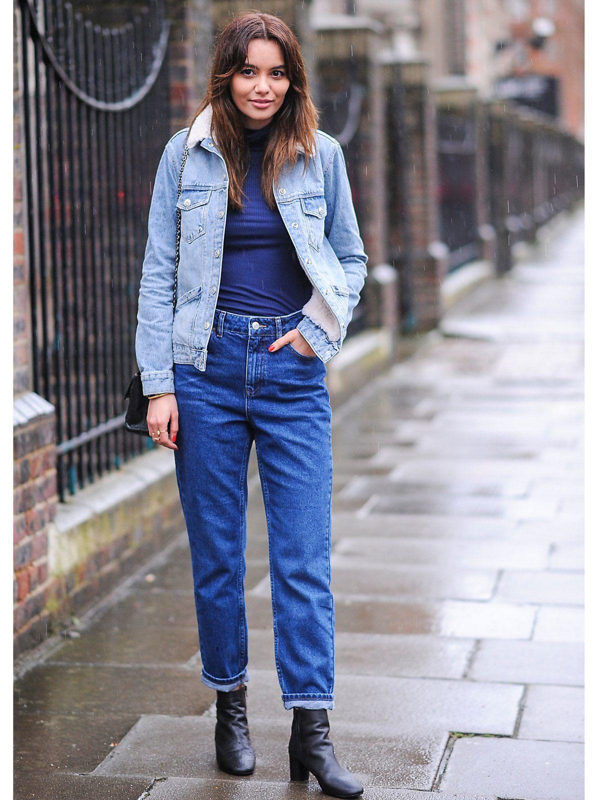 chic angezogen mit jeans jacke
