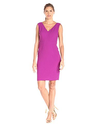 Adrianna Papell Womens Vneck Dress with Center Front Smocking Deep Berry 14 -- Click on the image for additional details. Note: It's an affiliate link to Amazon.