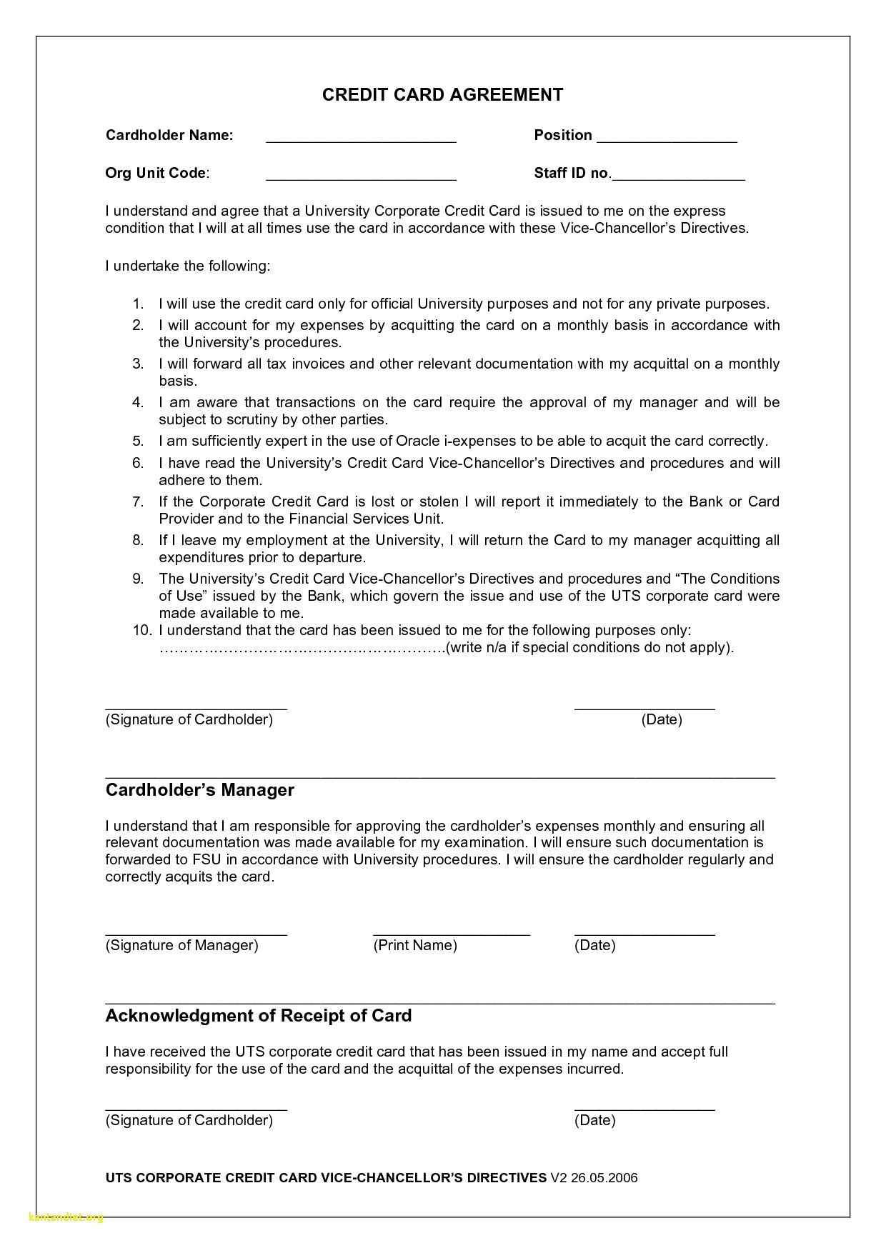 Employee Credit Card Agreement Business Template With Regard To Acquittal Report Templat Corporate Credit Card Business Template Credit Card Application Form