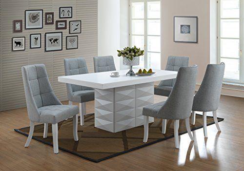 kings brand 7 piece white modern rectangle dinette dining room table rh pinterest com