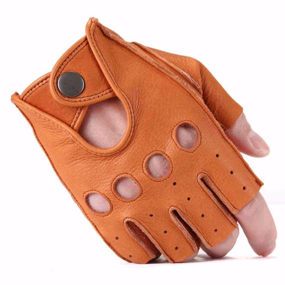 Motorcycle gloves deerskin - Men Deerskin Gloves Wrist Half Finger Driving Glove Solid Adult Fingerless Mittens Real Genuine Leather Mittens