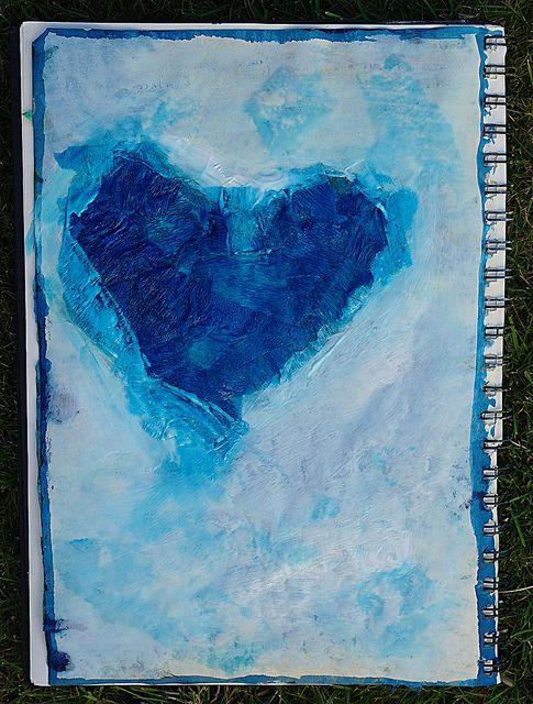 Art journal page by Lindsay Drya Vanhove - Blue heart