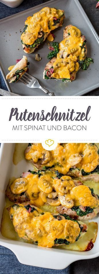 berbackenes putenschnitzel mit spinat und bacon rezept german food pinterest essen. Black Bedroom Furniture Sets. Home Design Ideas