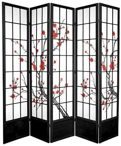 oriental furniture 7 ft tall cherry blossom shoji screen 5 panels rh pinterest at