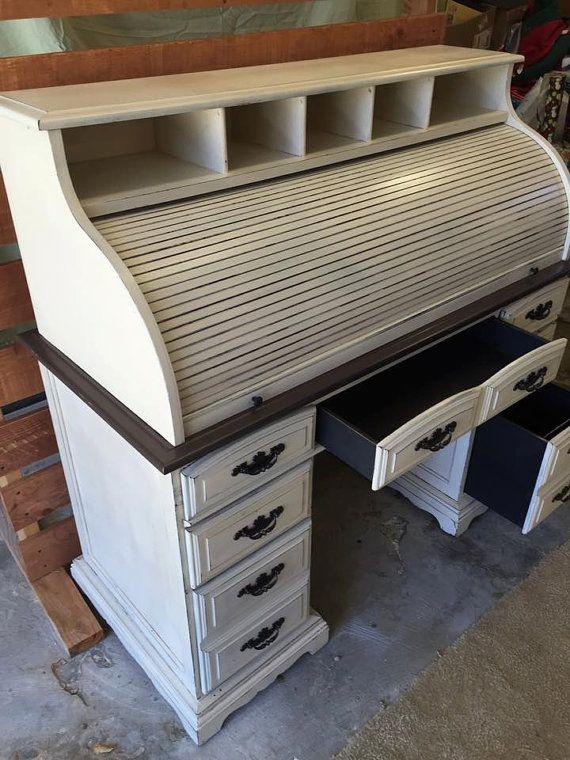 vintage roll top desk shabby chic antique white by luminousmoon rh pinterest com