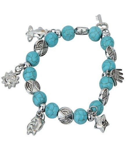Fashion Charms Turquoise Beads Elastic Force Silver Bracelet Vintage Hamsa Hand Bracelets Women Fine Jewelry Pulseras D097