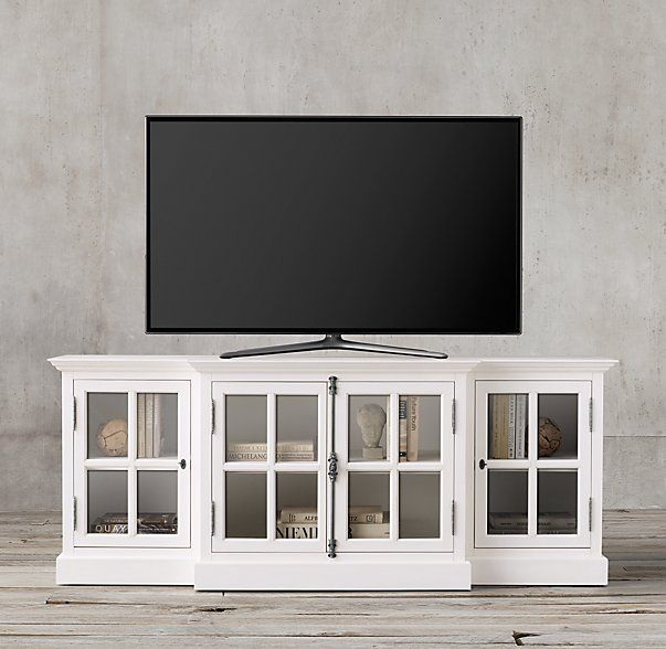 "Restoration Hardware Entertainment Center: French Casement 80"" Glass Media Console"